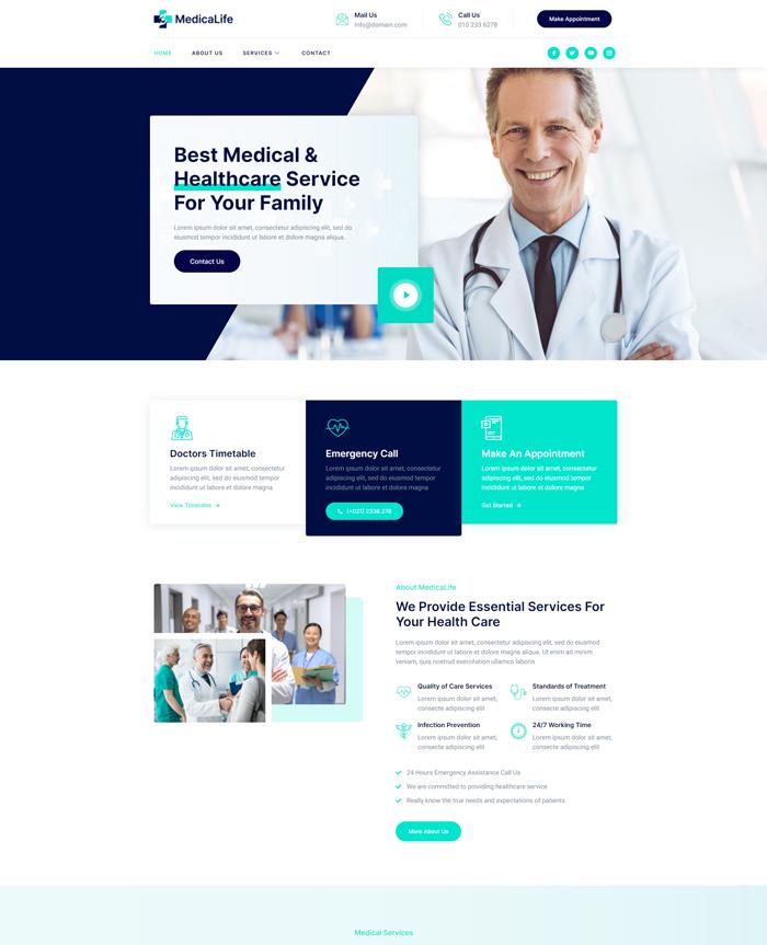 Cheap Website Design Template for a Healthcare Website
