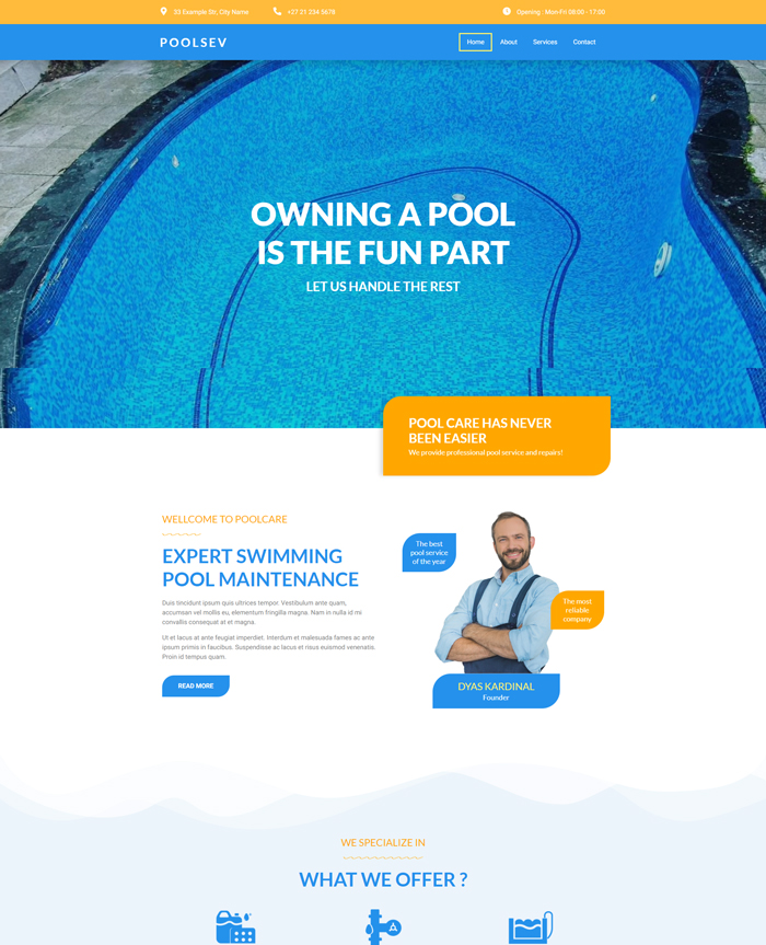 Pool Service Template Website